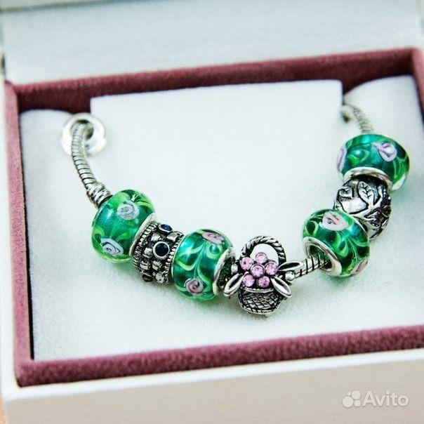 Браслет в стиле Pandora зеленый. Костромская область,  Кострома