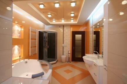 Натяжные потолки в ванной комнате: фото оригинальных ...