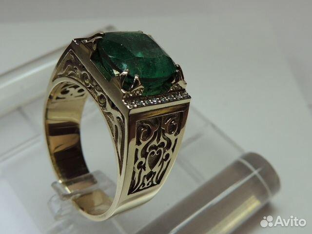мужские кольца с изумрудом  и цена