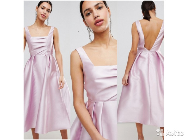 346b6ce5a65 Розовое атласное платье с пышной красивой юбкой купить в Москве на ...