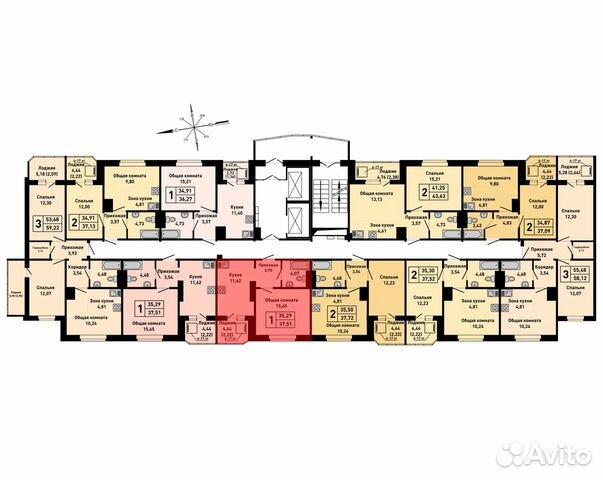 1-к квартира, 37.5 м², 13/17 эт. 89833803205 купить 2